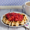 Coconut Waffle with Strawberry Sauce - THM S