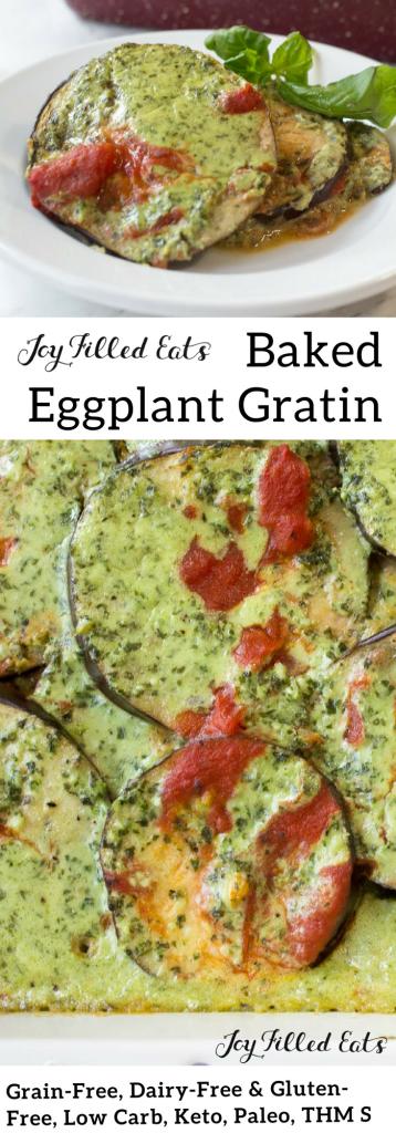 pinterest image for baked eggplant gratin