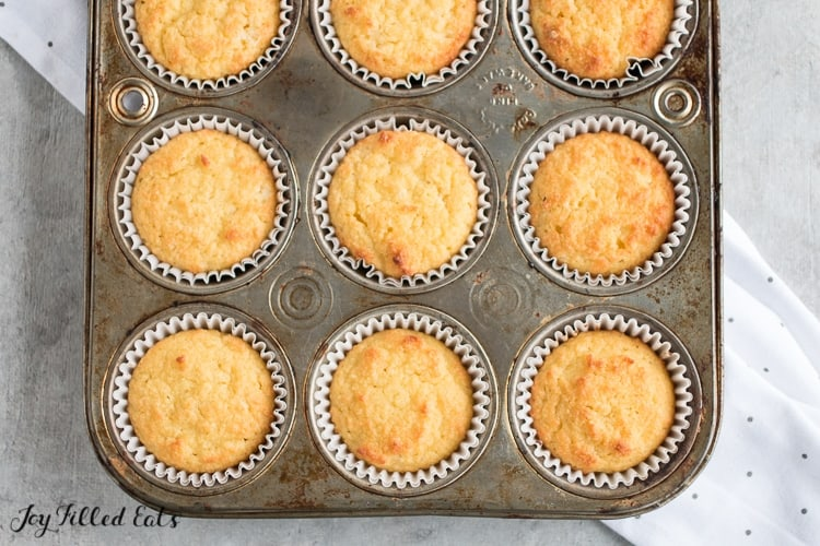 the baked cupcakes in a muffin tin