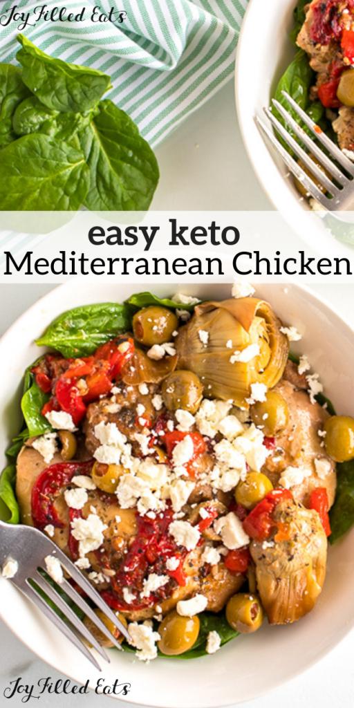 pinterest image for keto Mediterranean chicken