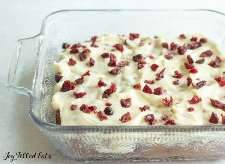 baking dish full with cranberry bliss bars