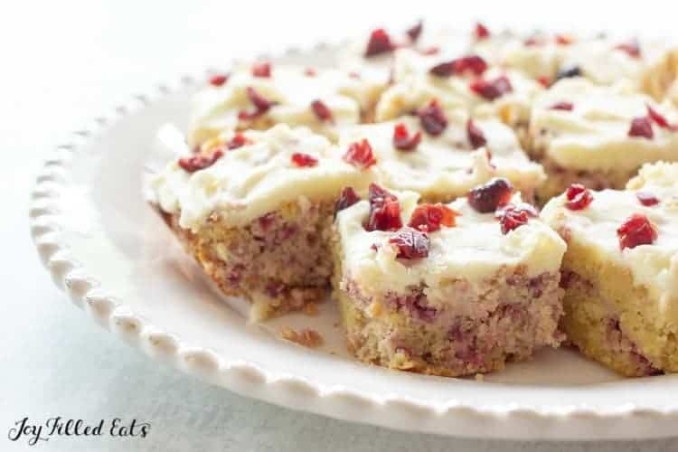 plate full of cranberry bliss bars