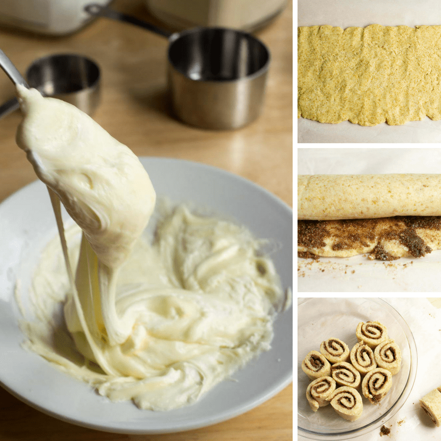 A series of shots showing how to roll the dough for the gluten free cinnamon rolls