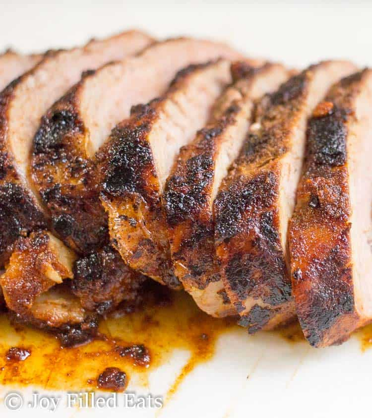 close up of sliced pork tenderloin