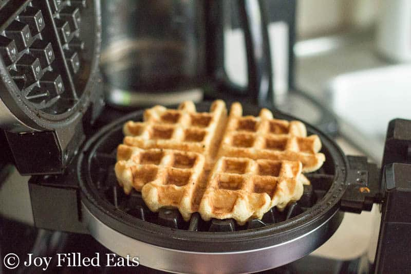 Cooked coconut waffle in the waffle iron
