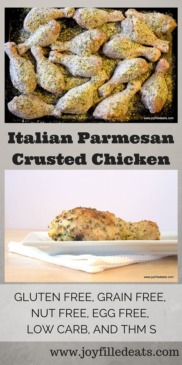 pinterest image for low carb  Italian Parmesan crusted chicken