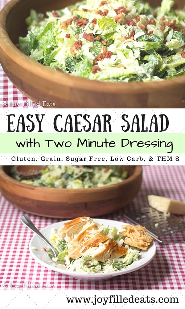 pinterest image for easy Caesar salad with two minute dressing