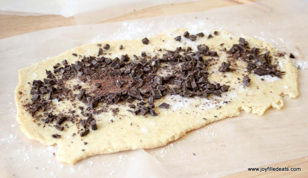 Dough with chopped chocolate on top