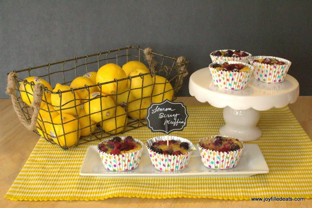 Lemon Muffins with Berries on a white plate and cake stand