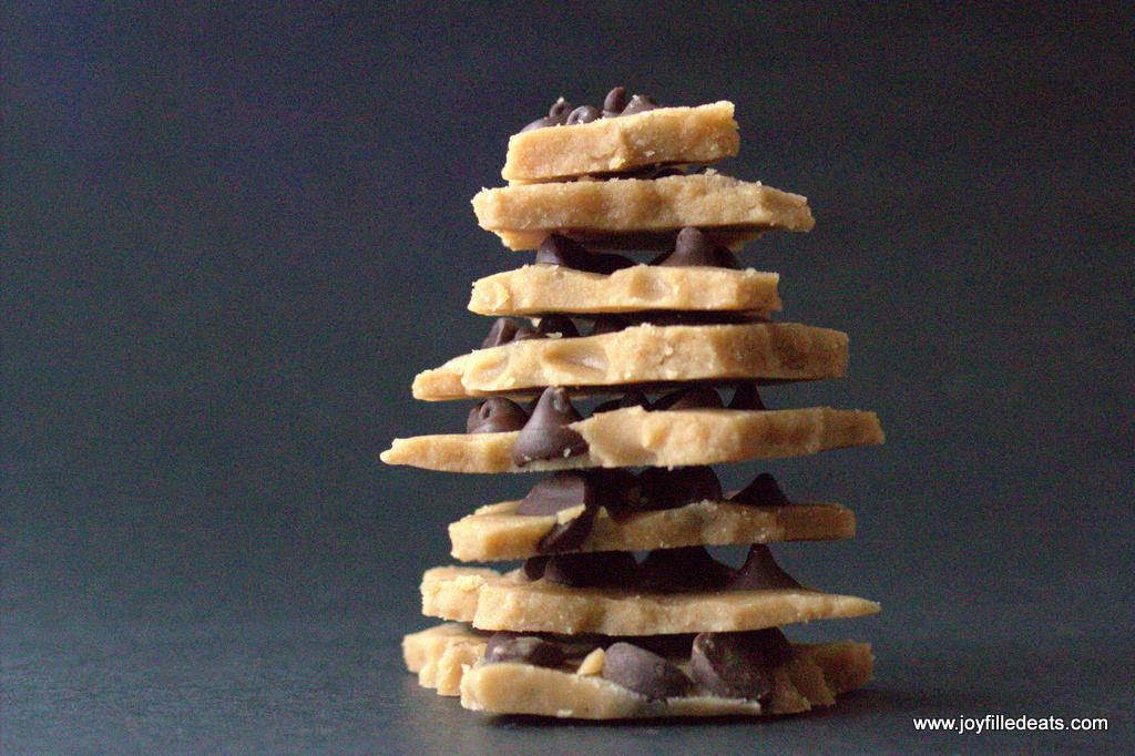 stack of low carb chocolate chip cookie dough bark