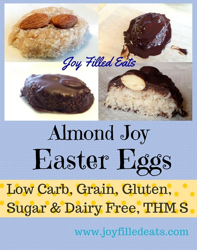 pinterest image for sugar free almond joy Easter eggs