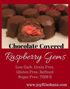 These Chocolate Covered Raspberry Gems are made with fresh raspberries & dark chocolate. They are low carb, sugar free, grain free, gluten free, & a THM S.