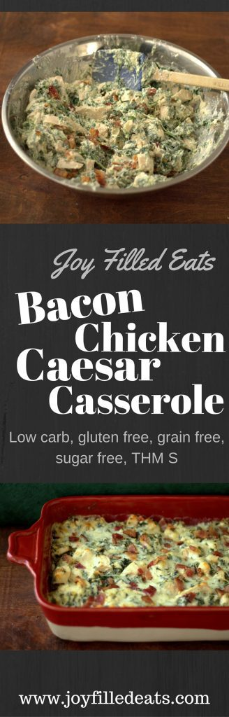 pinterest image for chicken bacon Caesar casserole