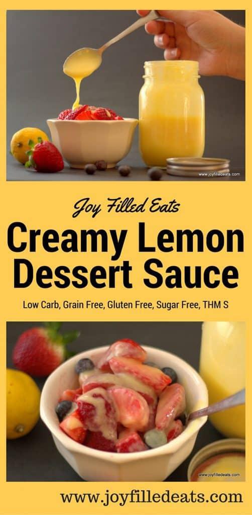 pinterest image for low carb creamy lemon dessert sauce