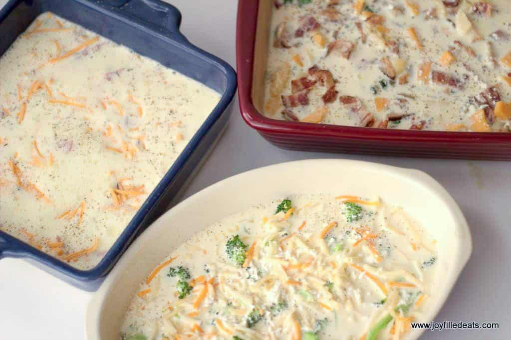 unbaked egg bakes in 3 casserole dishes