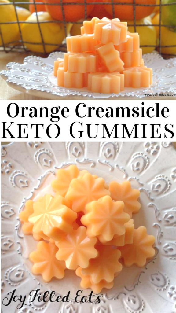 pinterest image for keto orange creamsicle gummies