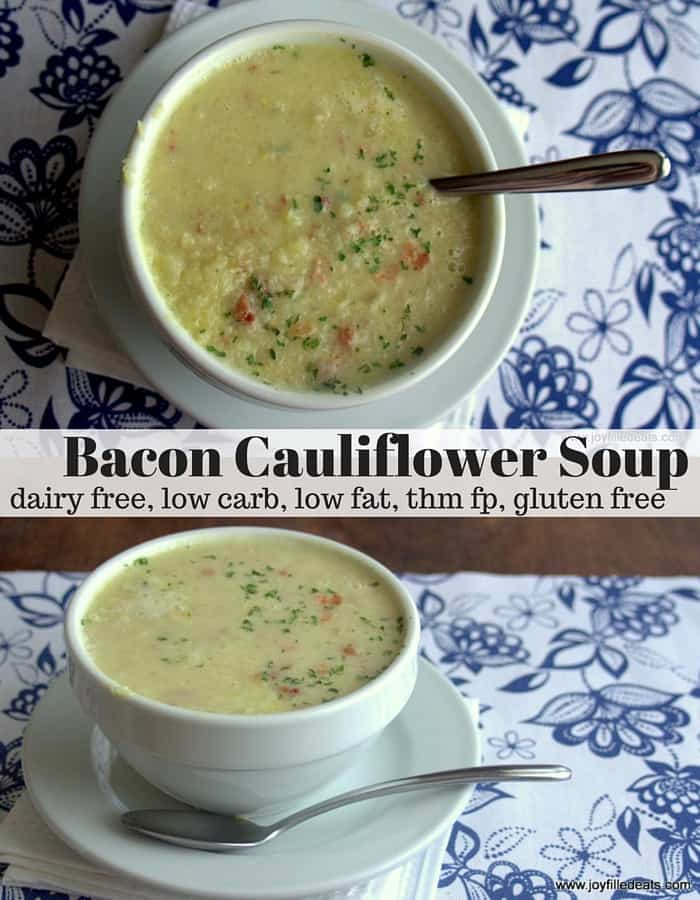 pinterest image for low carb bacon cauliflower soup