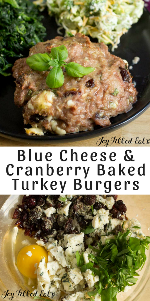 pinterest image for blue cheese & cranberry baked turkey burgers