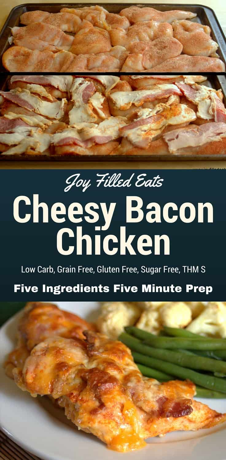 pinterest image for low carb cheesy bacon chicken