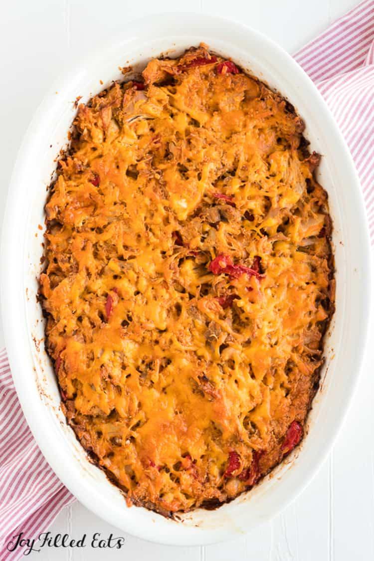 chicken fajita casserole from above in white casserole dish