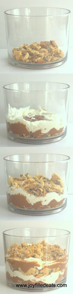 collage of images for sugar free chocolate chip cookie trifle