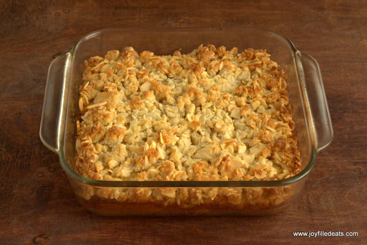 Almond Crumb Cake baked in a glass dish