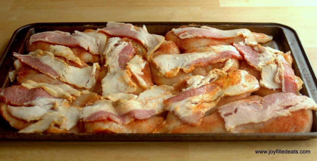 chicken breast topped with bacon