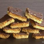 pyramid pile of sugar free tagalong peanut butter cookie bars