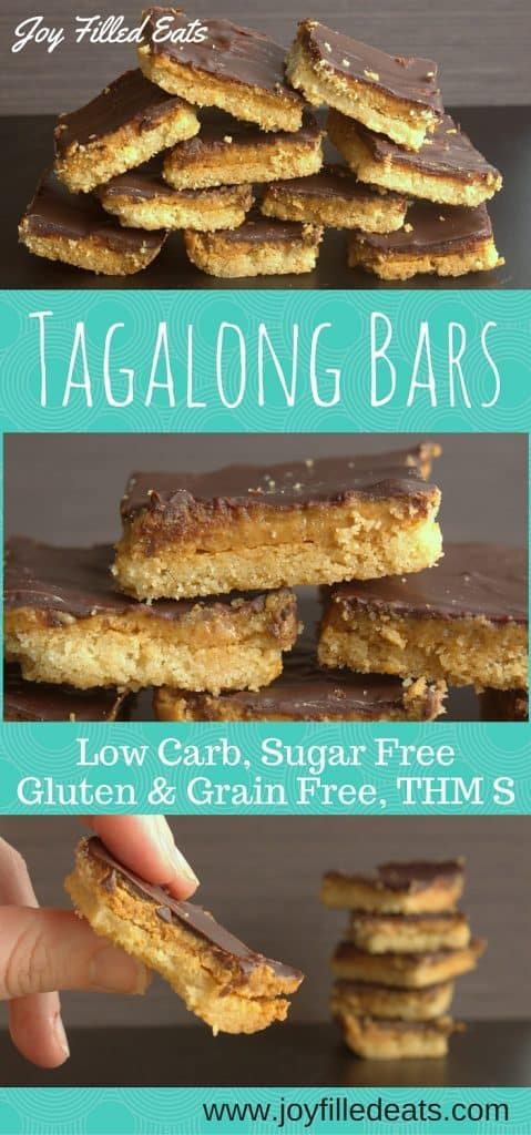 pinterest image for low carb and sugar free tagalong bars