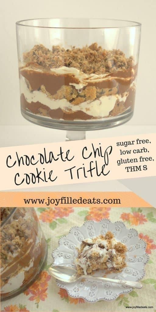 pinterest image for sugar free chocolate chip cookie trifle