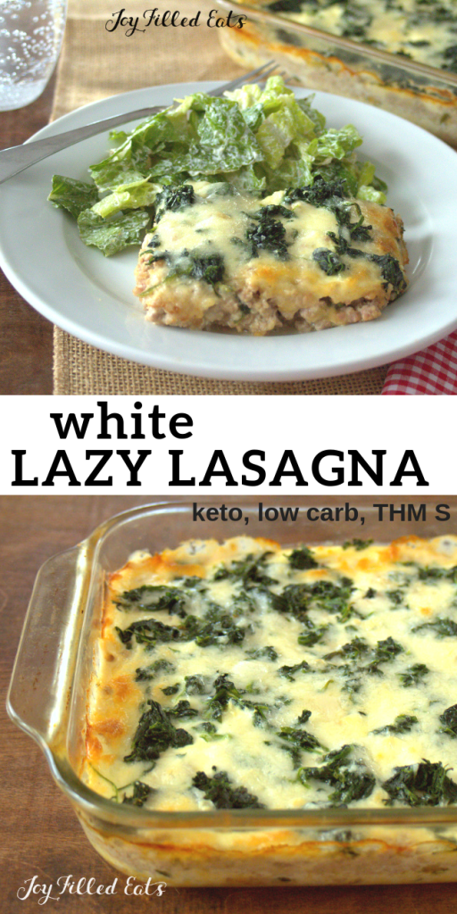 pinterest image for white lazy lasagna