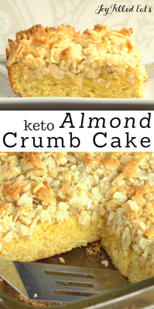 pinterest image for keto almond crumb cake