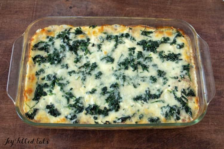 overhead view of white keto lasagna in casserole dish