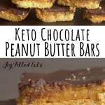 pinterest image for keto chocolate peanut butter bars