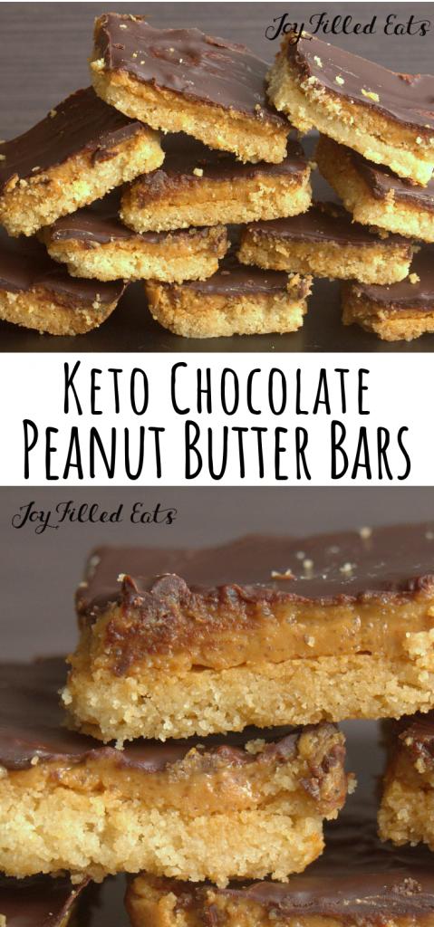 pinterest image for keto chocolate peanut butter bars