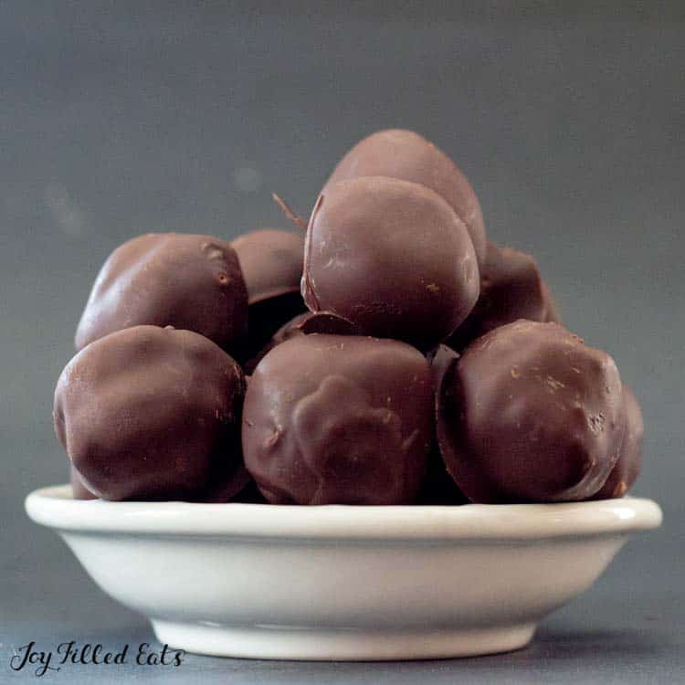 side view of the bowl of brownie balls