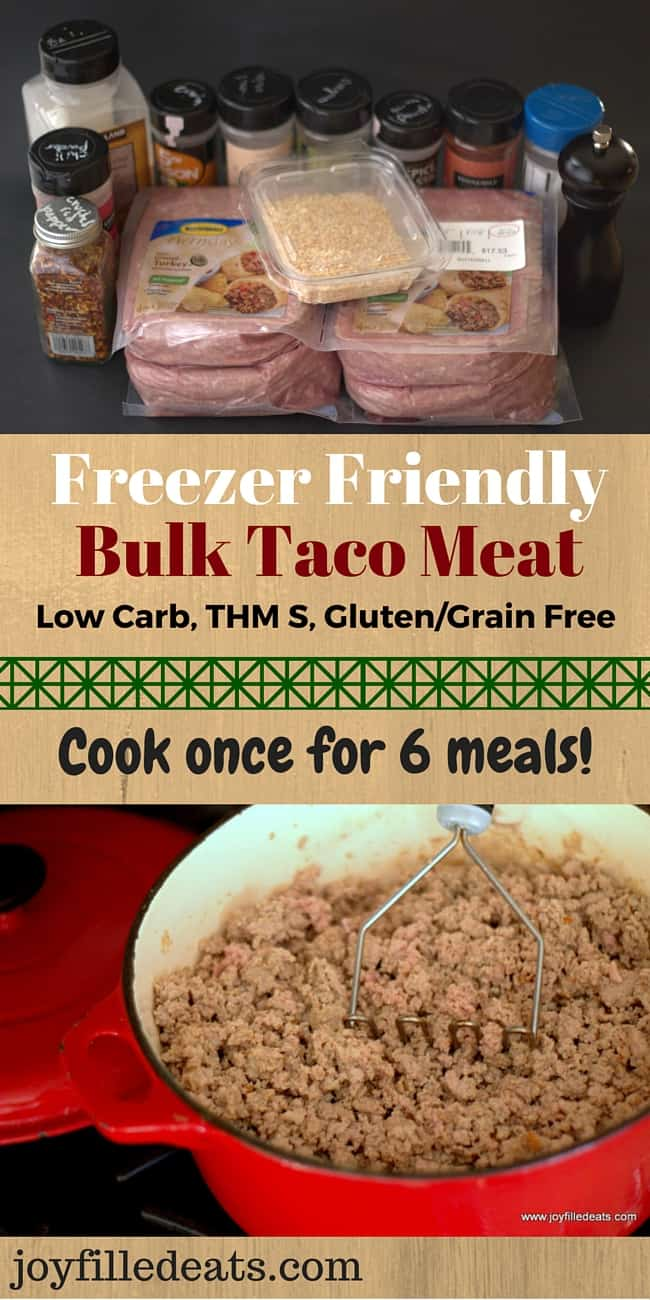 Cook once for 6 dinners! This taco meat is great for when you just don't feel like cooking. It is low carb, gluten & grain free, THM S & reheats in minutes.