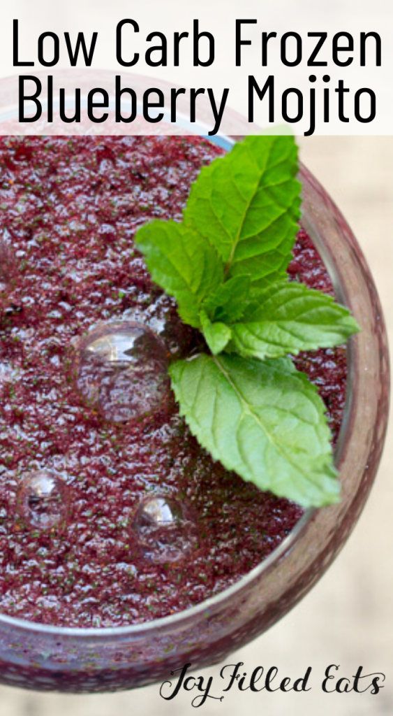 pinterest image for frozen blueberry mojito