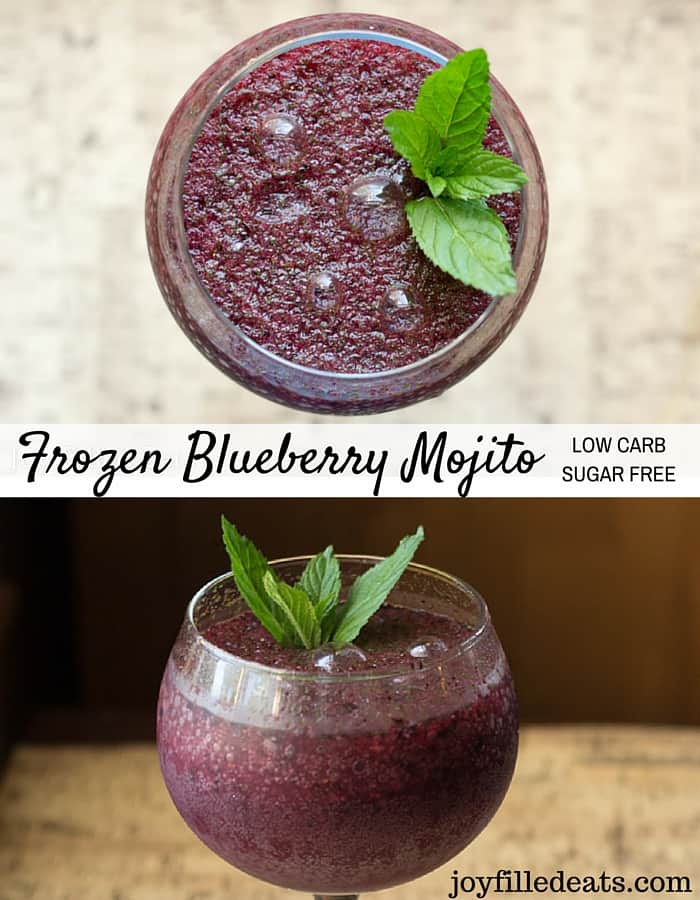pinterest image for sugar free frozen blueberry mojito