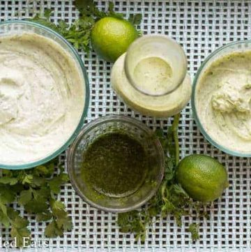 This Cilantro Lime Pesto is so versatile you can make dip, dressing, or mayo from it! They are all low carb, grain/gluten/sugar free, & THM friendly. The pesto & mayo are dairy free.