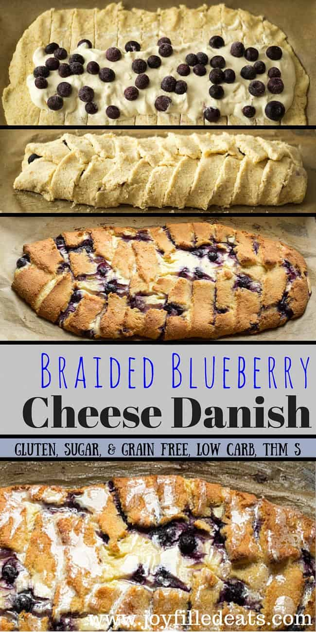 My Braided Blueberry Cheese Danish has golden dough, a ton of cream cheese filling, & pops of blueberries. It is low carb, grain-gluten-sugar free, & THM S.