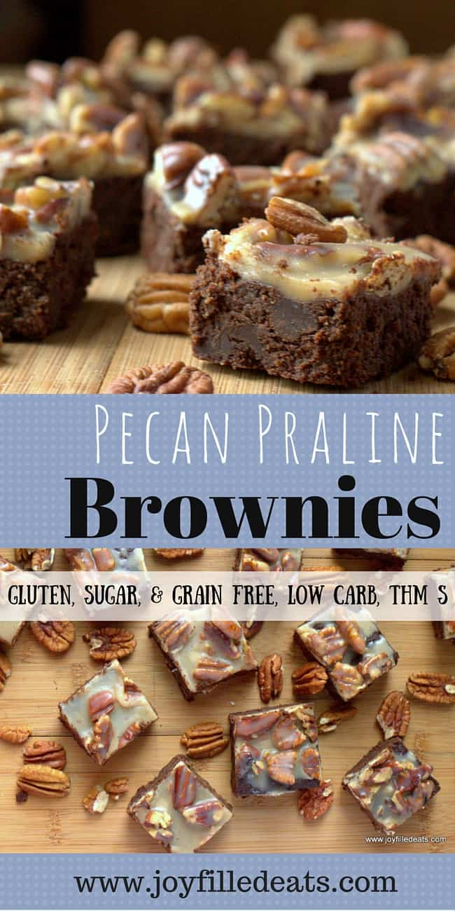 pinterest image for sugar free pecan praline brownies