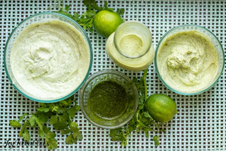 overhead view of containers of cilantro lime pesto, dip, dressing and mayo