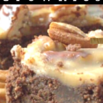pinterest image for pecan praline brownies
