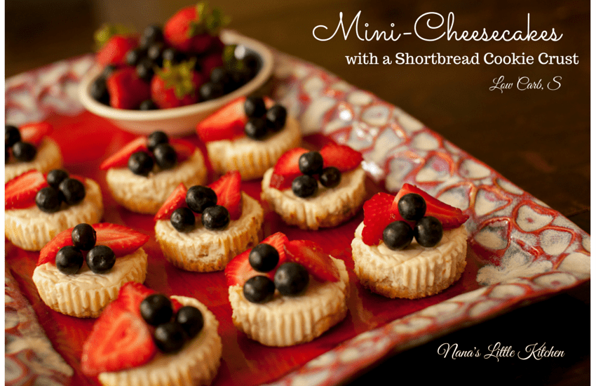 pinterest image for mini-cheesecakes with shortbread cookie crust