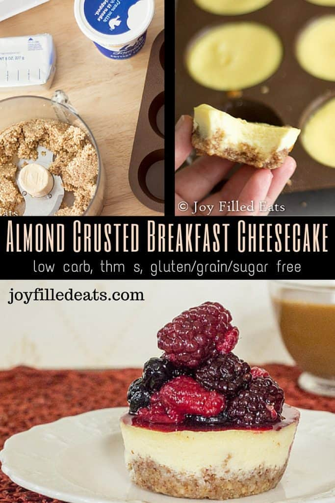 pinterest image for low carb almond crusted breakfast cheesecake