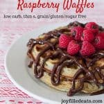 pinterest image for chocolate covered raspberry waffles