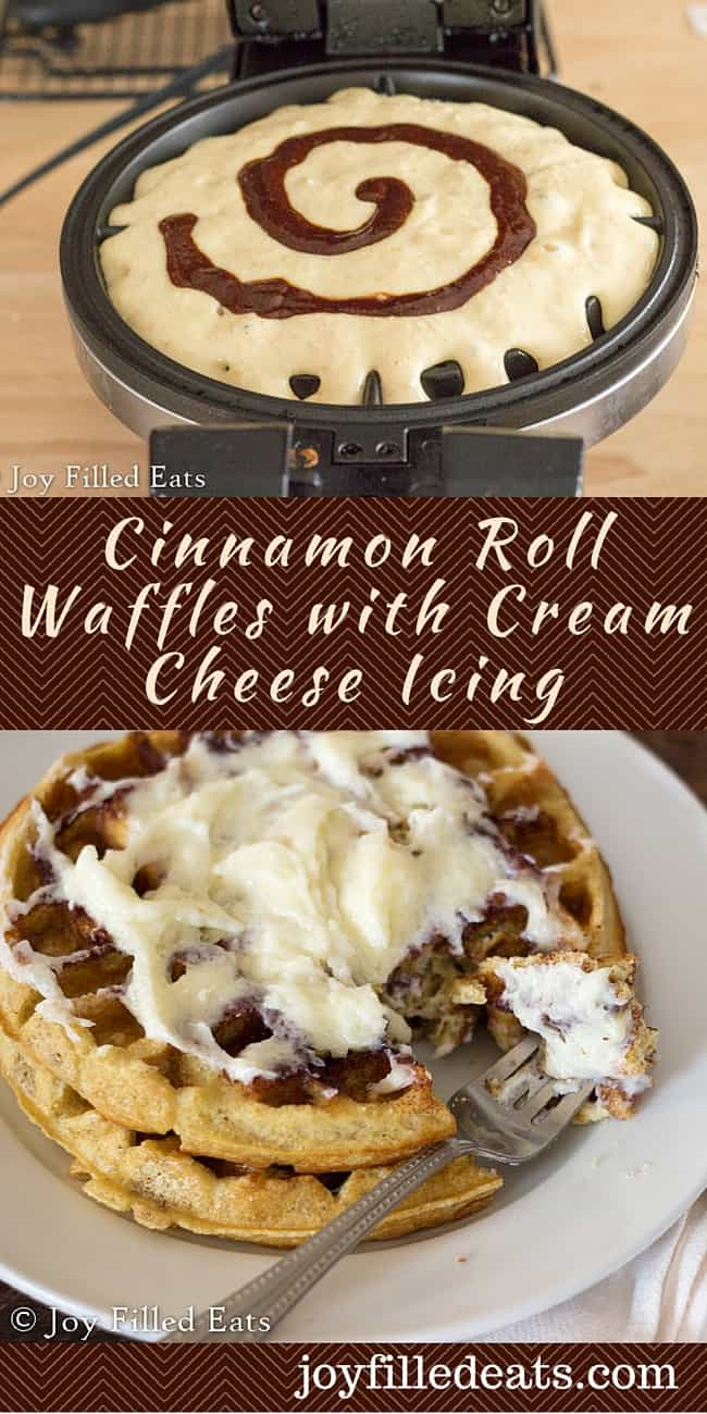 pinterest image for cinnamon roll waffles with cream cheese icing