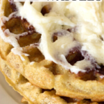 pinterest image for cinnamon roll waffles