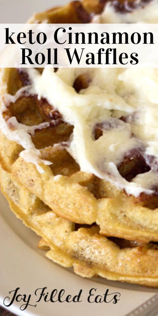 pinterest image for cinnamon roll waffles